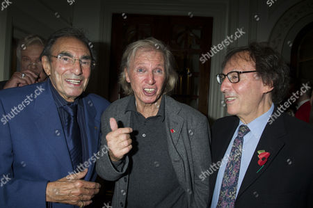 Stock Picture of Press Night For Scrooge at the London Palladium Argyll Street Soho London the After Party Tommy Steele Witjh Don Black ( Oscar Winning Song Writer) ( R ) and His Brother Michael Black (l )