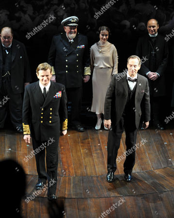 Press Night For the Kings Speech at Wyndham's Theatre Charing Cross Road London and Afterparty at the Langham Hilton Portland Place London the Curtain Call with Charles Edwards As King George Vi Jonathan Hyde As Lionel Logue Emma Fielding As Queen Elizabeth Ian Mcneice As Winston Churchill Michael Feast As Cosmo Lang & Joss Ackland As King George V