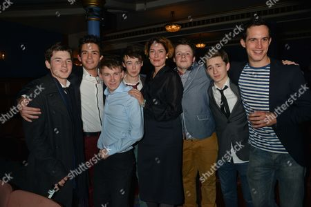 Press Night of South Downs & the Browning Version the Double Bill of Terence Rattigan's and David Hare's Specially Commissioned Companion Piece Transfer to Harold Pinter Theatre Patton Street London Anna Chancellor with L to R Tom Spink Jonathan Bailey Bradley Hall Alex Lawther Liam Morton James Messer & Rob Heaps