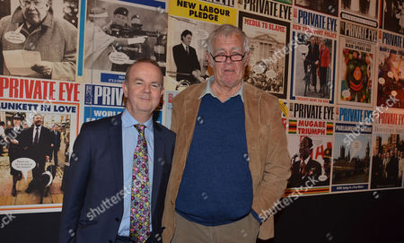 Private Eye: the First 50 Years - Private View at the Victoria & Albert Museum Cromwell Road London Ian Hislop & Richard Ingrams