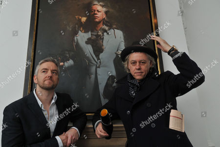 Private View at the Halcyon Gallery in New Bond Street Mayfair London Bob Geldof with Artist Mitch Griffiths