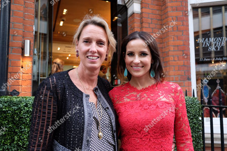 Stock Image of Annoushka Ducas and Roksana Ciurysek-gedir Private View of Diamonds in the Sky at Art at Annoushka Cadogan Gardens Chelsea London This is an Join Exhibition by Jewellery Designer Annoushka Ducas and Artist Roksana Ciurysek-gedir