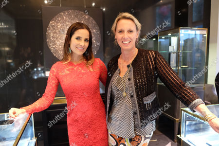 Stock Photo of Annoushka Ducas and Roksana Ciurysek-gedir Private View of Diamonds in the Sky at Art at Annoushka Cadogan Gardens Chelsea London This is an Join Exhibition by Jewellery Designer Annoushka Ducas and Artist Roksana Ciurysek-gedir