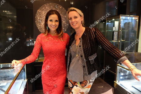 Stock Picture of Annoushka Ducas and Roksana Ciurysek-gedir Private View of Diamonds in the Sky at Art at Annoushka Cadogan Gardens Chelsea London This is an Join Exhibition by Jewellery Designer Annoushka Ducas and Artist Roksana Ciurysek-gedir