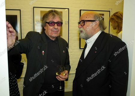 Private View of Second Nature A Photographic Exhibition by Bill Wyman at Kenny Schachter Rove Lincoln House Hoxton Square London Bill Wyman and Roy Ackerman