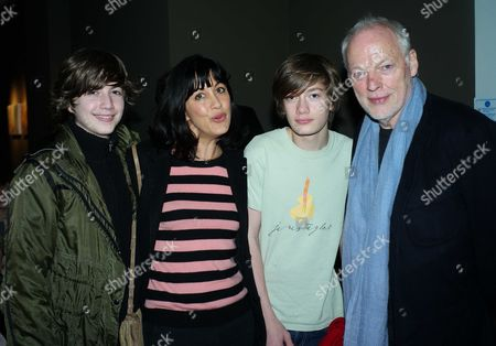 Private View of Your Only Young Twice at Lazarides Rathbone Place London David & Polly Gilmour with Their Sons Joe & Gabriel