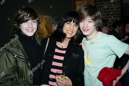 Private View of Your Only Young Twice at Lazarides Rathbone Place London Polly Gilmour with Their Sons Joe & Gabriel