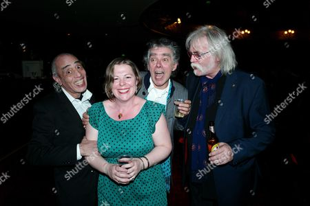 Reasons to Be Cheerful 1st Night at the Hackney Empire Hackney London Ian Dury's Daughter Jemima Dury with Blockheads Norman Watt-roy John Turnbull & Derek the Draw (who Was Ian Dury's Friend and Minder)
