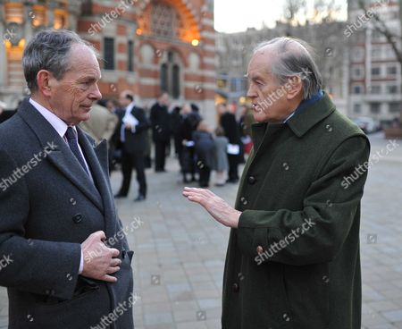 Requiem Mass For William the Lord Rees-mogg at Westminster Cathedral Simon Jenkins & Lord Armstrong