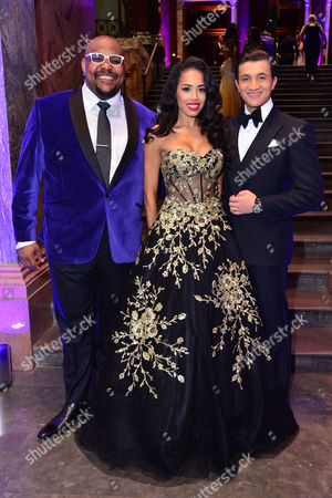 London, England, 15th June 2016: Co-stars, Jade Ewen with Dean John-wilson with the Genie, Trevor Dion Nicholas Attend Aladdin Press Night Afterparty at the National Gallery, 15th June 2016