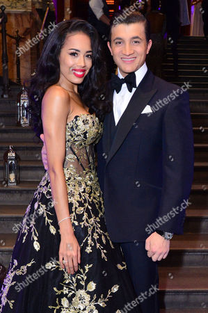 Stock Photo of London, England, 15th June 2016: Co Stars, Jade Ewen with Dean John-wilson Attend Aladdin Press Night Afterparty at the National Gallery, 15th June 2016
