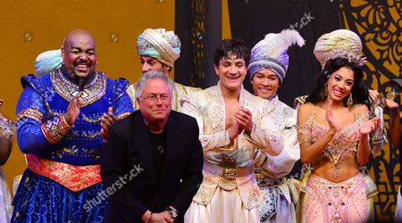 London, England, 15th June 2016: Trevor Dion Nicholas, Alan Menken, Dean John-wilson and Jade Ewen at the Press Night Curtain Call for Aladdin at the National Gallery, 15th June 2016