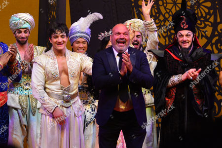 Stock Image of London, England, 15th June 2016: Dean John-wilson, Director Casey Nicholaw and Irvine Iqbal at the Press Night Curtain Call for Aladdin at the National Gallery, 15th June 2016