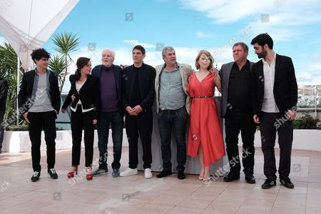 Stock Image of Cannes France 12th May 2016: Laura Calamy, Christian Bouillette, Damien Bonnard, Director Alain Guiraudie, India Hair and Raphael Thiery and Cast at the Rester Vertical (staying Vertical) Photocall As Part of the 2016 Cannes Film Festival in Cannes, France On the 12th May 2016.