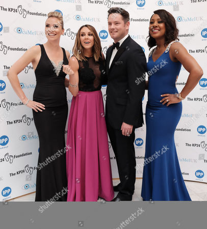 Stock Image of London, England, 9th June 2016: Jessica Taylor , Michelle Heaton, Tony Lundon and Kelli Young (liberty X) Attend the Kp24 Foundation Charity Gala Dinner Arrivals at the Waldof Astoria, London On the 9th June 2016.