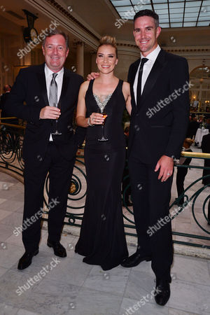 Stock Image of London, England, 9th June 2016: Piers Morgan, Kevin Pietersen and Jessica Taylor Attend the Kp24 Foundation Charity Gala Dinner Arrivals at the Waldof Astoria, London On the 9th June 2016.