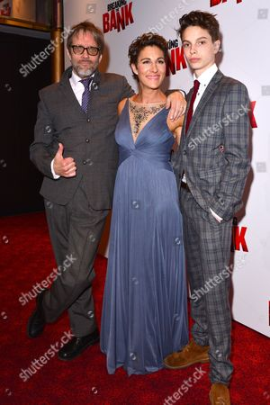 London, England - May 31: Richard Leaf, Tamsin Greig and Jakob Zebedee Leaf at the UK Gala Screening of 'breaking the Bank' at the Empire Cinema On the 31st May 2016 in London, England.