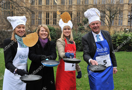 Shrove Tuesday Charity Pancake Race with Mps and Lords Joined by Media in A Race to the Finish in Aid of Rehab Tracey Crouch Mp Lorna Dunkley Sky Sophy Ridge Sky Lord St John