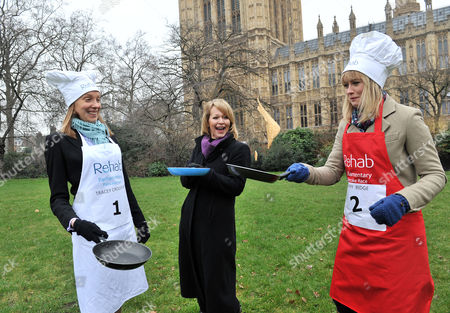 Shrove Tuesday Charity Pancake Race with Mps and Lords Joined by Media in A Race to the Finish in Aid of Rehab Tracey Crouch Mp Lorna Dunkley Sky Sophy Ridge Sky