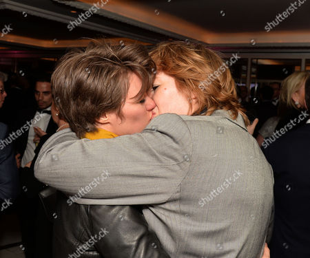 Stock Picture of Stonewall 25th Anniversary Dinner at the Ballroom of the Dorchester Hotel Park Lane London Allegra Mcevedy (left) and Jack Monroe