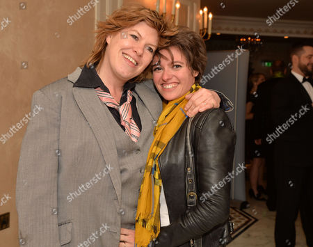 Stonewall 25th Anniversary Dinner at the Ballroom of the Dorchester Hotel Park Lane London Allegra Mcevedy (left) and Jack Monroe