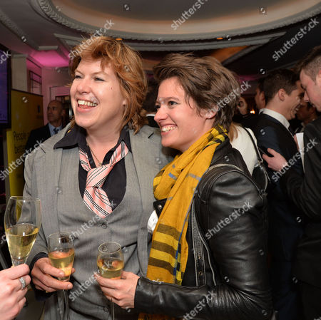 Stock Image of Stonewall 25th Anniversary Dinner at the Ballroom of the Dorchester Hotel Park Lane London Allegra Mcevedy (left) and Jack Monroe