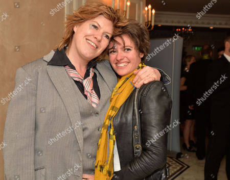 Stock Photo of Stonewall 25th Anniversary Dinner at the Ballroom of the Dorchester Hotel Park Lane London Allegra Mcevedy (left) and Jack Monroe