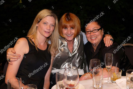 Stock Image of Stonewall 25th Anniversary Summer Party at the Roof Gardens Kensington West London Sophie Ward with Her Partner Rena Brannan and Cemter Mary Portas