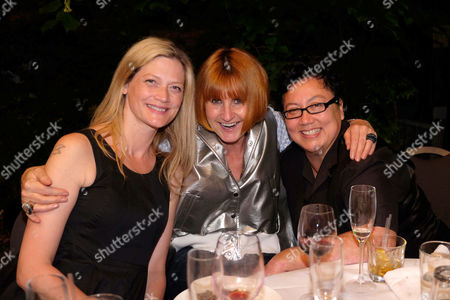 Stonewall 25th Anniversary Summer Party at the Roof Gardens Kensington West London Sophie Ward with Her Partner Rena Brannan and Cemter Mary Portas