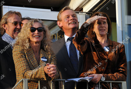 The 58th Hennessy Gold Cup at Newbury Racecourse Berkshire Mike and Angie Rutherford with Martin Clunes and His Wife Phillipa Brithwaite