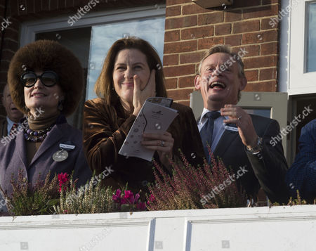 The 58th Hennessy Gold Cup at Newbury Racecourse Berkshire Lady Emma Fellowes with Martin Clunes and His Wife Philippa Braithwaite