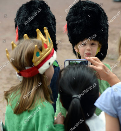 The Children of Laura and Harry Lopes the Grand Children of Camilla the Duchess of Cornwall Outside Clarence House the Mall St James London While the Trooping of the Colour Takes Place Gus Lopes ( Blue Jumper )and His Twin Brother Louis Lopes ( Green Jumper)