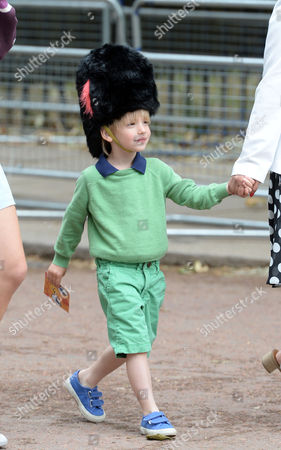 The Children of Laura and Harry Lopes the Grand Children of Camilla the Duchess of Cornwall Outside Clarence House the Mall St James London While the Trooping of the Colour Takes Place Louis Lopes