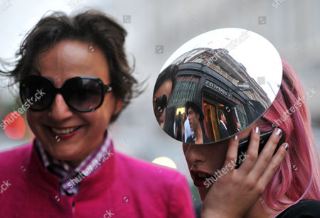 The Daphne Guinness Collection at Christie's to Raise Money For the Isabella Blow Foundation Private View Christie's South Kensington London Selina Blow ( Was Isabella Blow's Sister in Law ) & Harriet Verney's Hat She Was Isabella Blow's Niece