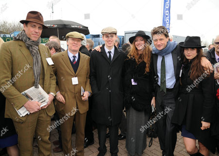 The Festival at Cheltenham Gold Cup Day Friday Ben Elliot His Father in Law Stevie Winwood Cal Winwood Mary-clare Elliott & Lord Johnson Somerset and Lily Robertson