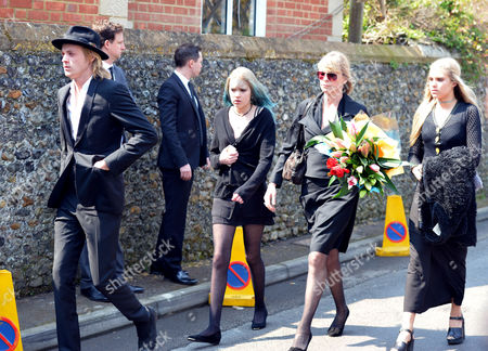 The Funeral of Peaches Geldof at St Mary Magdalene and St Lawrence Church in Davington Near Faversham Kent. Deborah Leng with her daughters Lola Taylor, Tigerlily Taylor and son Rufus Taylor