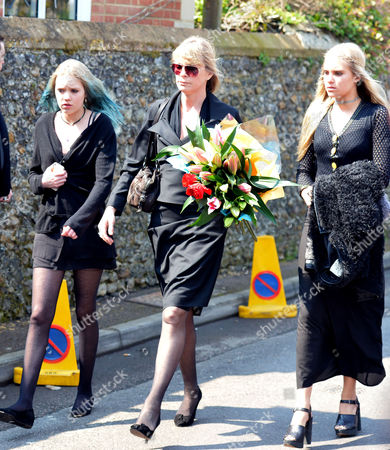 The Funeral of Peaches Geldof at St Mary Magdalene and St Lawrence Church in Davington near Faversham, Kent. Deborah Leng with her daughters Lola Taylor and Tigerlily Taylor