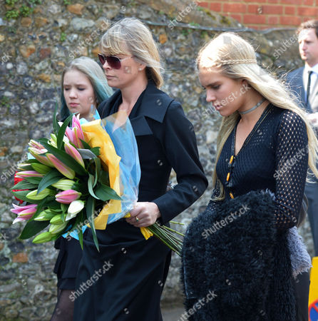 The Funeral of Peaches Geldof at St Mary Magdalene and St Lawrence Church in Davington Near Faversham Kent Deborah Leng and Her Daughters and Lola Daisy May Leng Taylor and Tigerlily Taylor