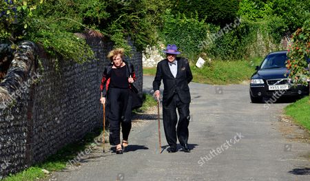 The Funeral of Race Horse Owner John Lambton the Son of the 5th Earl of Durham and Half Brother of Lord Tony Lambton at St Mary's Church Compton in West Sussex Lady Lucinda Lambton Lady Worsthorne and Her Husband Sir Peregrine Worsthorne