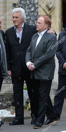 The Funeral of Singer Songwriter Lynsey De Paul at Hendon Cemetery & Crematorium Holders Hill Rd North London Bruce Welch & Mike Batt