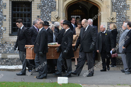The Funeral of Singer Songwriter Lynsey De Paul at Hendon Cemetery & Crematorium Holders Hill Rd North London Kara Conte John Alderton & Marjorie Wallace