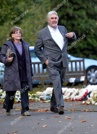 The Funeral of Singer Songwriter Lynsey De Paul at Hendon Cemetery & Crematorium Holders Hill Rd North London John Alderton and His Wife Pauline Collins