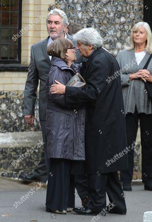 The Funeral of Singer Songwriter Lynsey De Paul at Hendon Cemetery & Crematorium Holders Hill Rd North London Pauline Collins John Alderton & Tom Conti