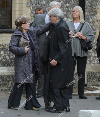 The Funeral of Singer Songwriter Lynsey De Paul at Hendon Cemetery & Crematorium Holders Hill Rd North London Pauline Collins John Alderton & Tom Conti