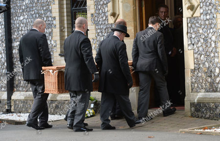 The Funeral of Singer Songwriter Lynsey De Paul at Hendon Cemetery & Crematorium Holders Hill Rd North London Kara Conte John Alderton & Marjorie Wallace