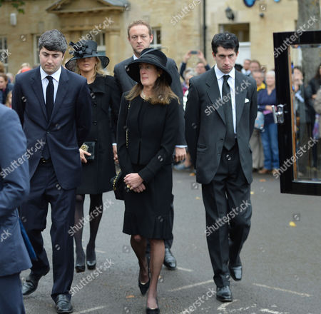 The Funeral of the Duke of Marlborough at Parish Church of St Mary Magdalene in Woodstock Oxfordshire the Widow Lily Mahtani with Jamie Spencer-churchill 12th Duke of Marlborough with His Son George Spencer-churchill Marquess of Blandford and His 2nd Wife His Wife Edla Griffiths and Their Children Lady Araminta Clementine Megan Spencer-churchill and Lord Caspar Sasha Ivor Spencer-churchill