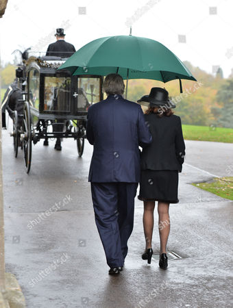 The Funeral of the Duke of Marlborough at Parish Church of St Mary Magdalene in Woodstock Oxfordshire the Widow Lily Mahtani with Jamie Spencer-churchill 12th Duke of Marlborough Follow the Hearsh Back to the Palace