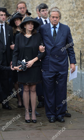 The Funeral of the Duke of Marlborough at Parish Church of St Mary Magdalene in Woodstock Oxfordshire the Widow Lily Mahtani with Jamie Spencer-churchill 12th Duke of Marlborough