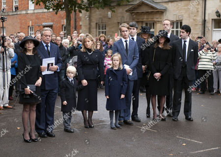 The Funeral of the Duke of Marlborough at Parish Church of St Mary Magdalene in Woodstock Oxfordshire the Widow Lily Mahtani with Jamie Spencer-churchill 12th Duke of Marlborough with His Son George Spencer-churchill Marquess of Blandford and His 2nd Wife His Wife Edla Griffiths and Their Children Lady Araminta Clementine Megan Spencer-churchill and Lord Caspar Sasha Ivor Spencer-churchill and Lady Henrietta Spencer-churchill with Her Sons and Lord Edward Spencer-churchill and His Sister Lady Alexandra Spencer-churchill