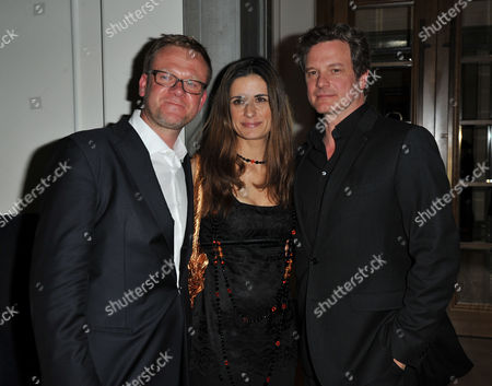 The Great Initiative Charity Dinner at the Corinthia Hotel London Whitehall Jason Mccue with Colin Firth and His Wife Livia Giuggioli